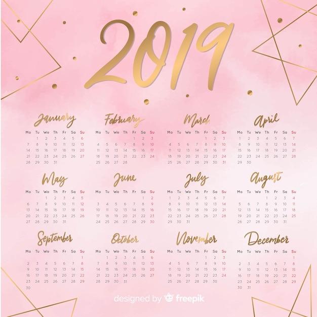 素敵な水彩2019カレンダーテンプレート 無料ベクター