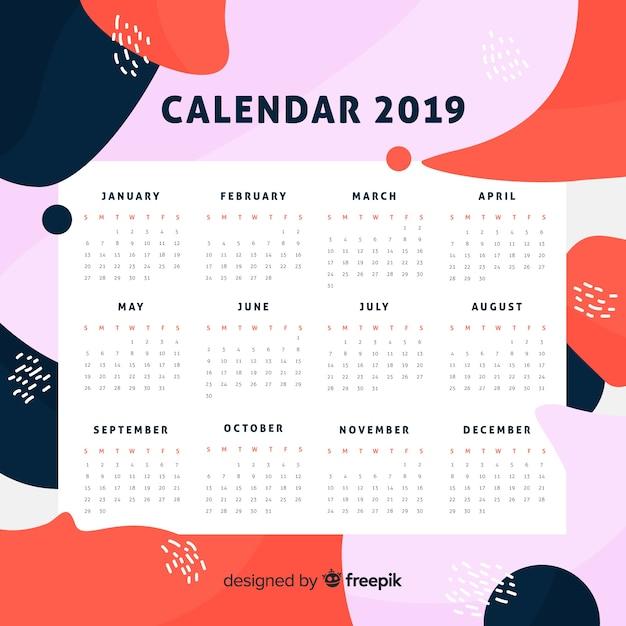 カレンダー2019 無料ベクター