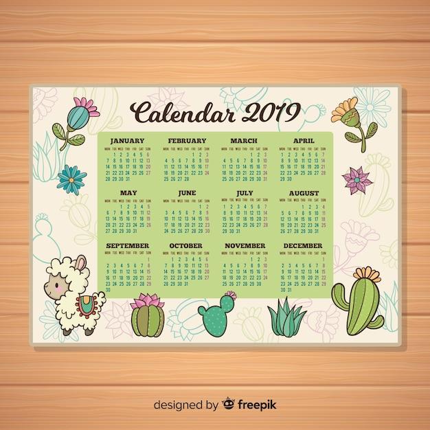 手描きの新年2019カレンダー 無料ベクター