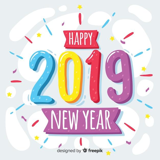 2019年新年の背景を手描きのスタイル 無料ベクター
