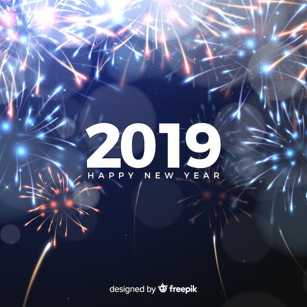 Новый год 2019 года с фейерверком Бесплатные векторы