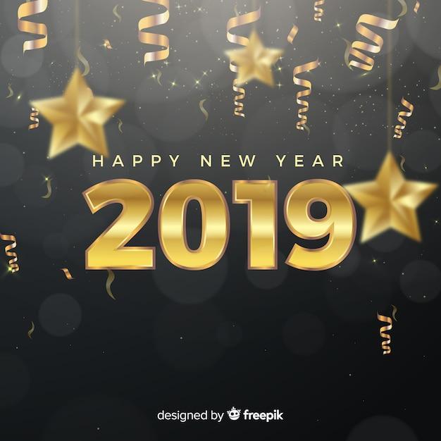 ゴールデンスタイルの新年2019年のコンポジション 無料ベクター