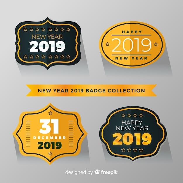 新年2019年ラベルコレクション 無料ベクター