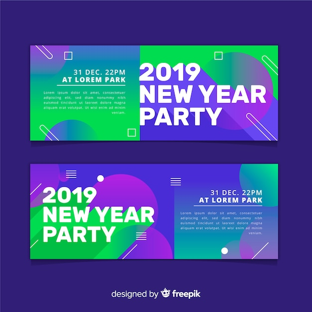 Новогодние баннеры 2019 года Бесплатные векторы
