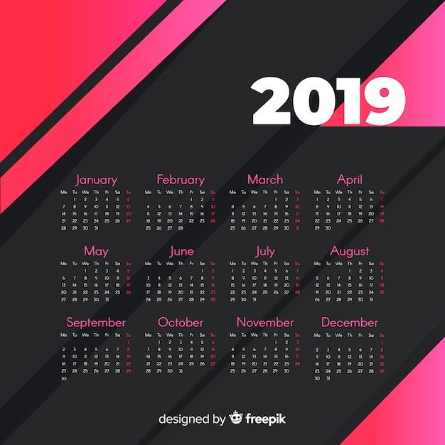現代2019カレンダーテンプレート 無料ベクター