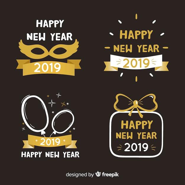 幸せな新年2019年のラベルコレクション 無料ベクター