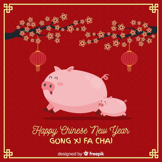 中国の新年2019の背景 無料ベクター