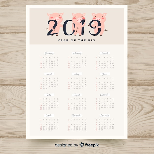 Китайский новый год 2019 календарь Бесплатные векторы