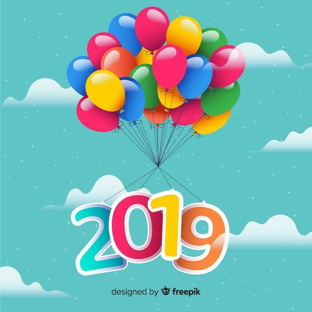 新しい年2019の背景 無料ベクター