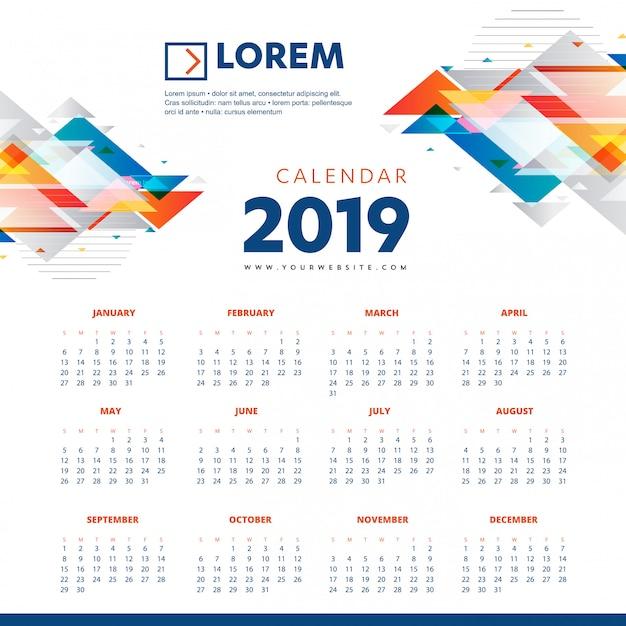 カレンダー2019カラフルなテンプレートのデスクオフィスの新年 Premiumベクター