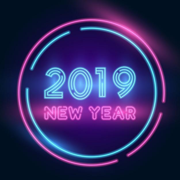 2019明けましておめでとうございます。明るい照明とテキストネオン。 Premiumベクター