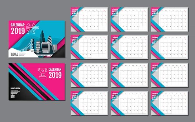 2019年のカレンダーテンプレート Premiumベクター