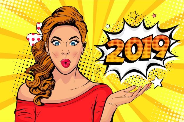 ポップアート新年のポスターまたはバナーとして2019番号の白人の若い女の子のうわーの顔 Premiumベクター