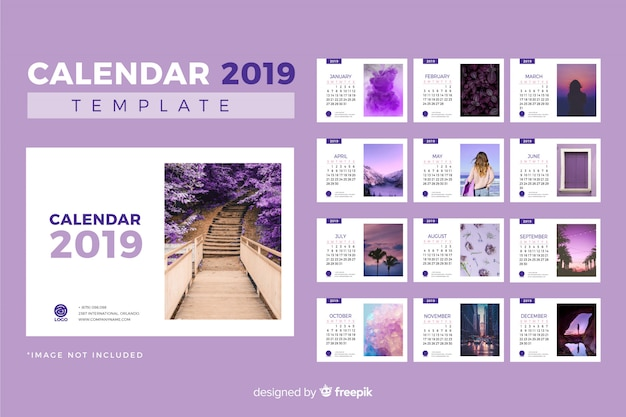 2019 шаблон календаря Бесплатные векторы