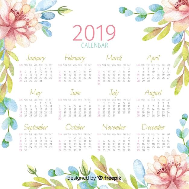Календарь акварели 2019 Бесплатные векторы