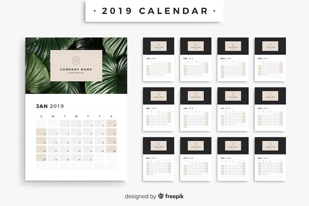 2019カレンダー 無料ベクター