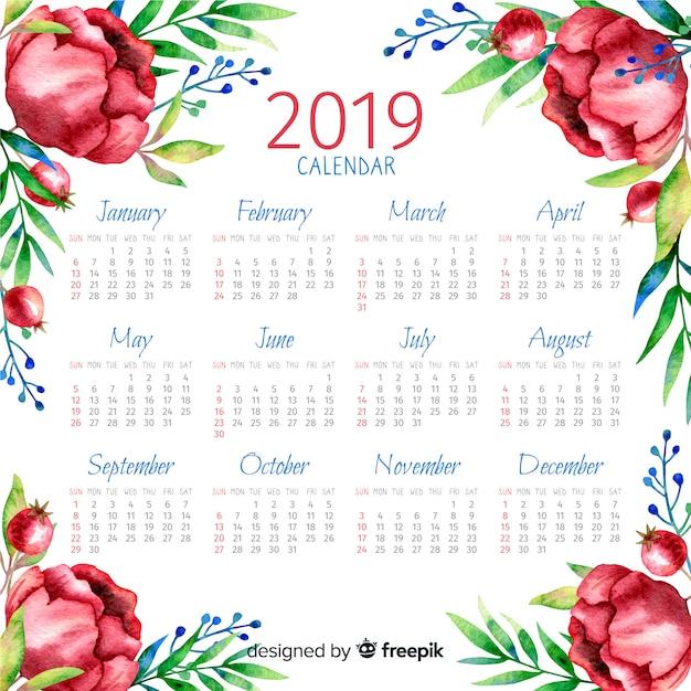 2019水彩の花のカレンダー 無料ベクター
