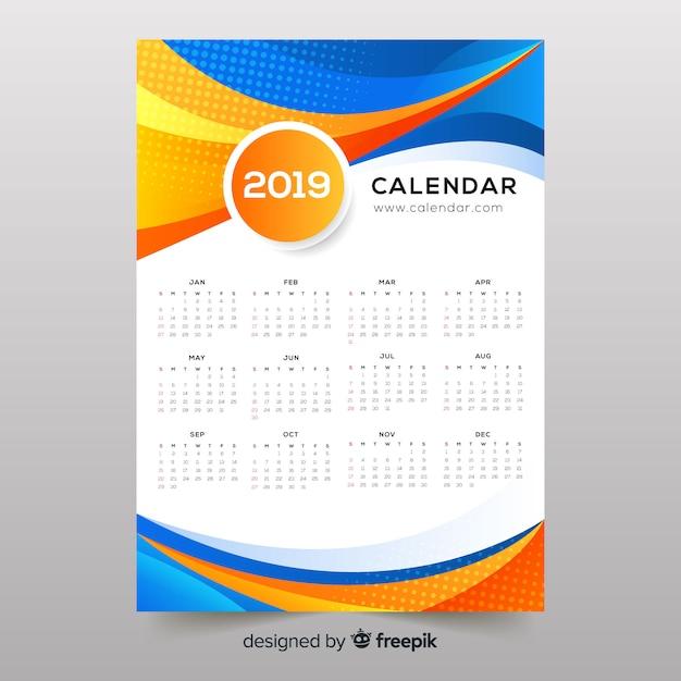 Красочные абстрактные формы календаря 2019 года Бесплатные векторы