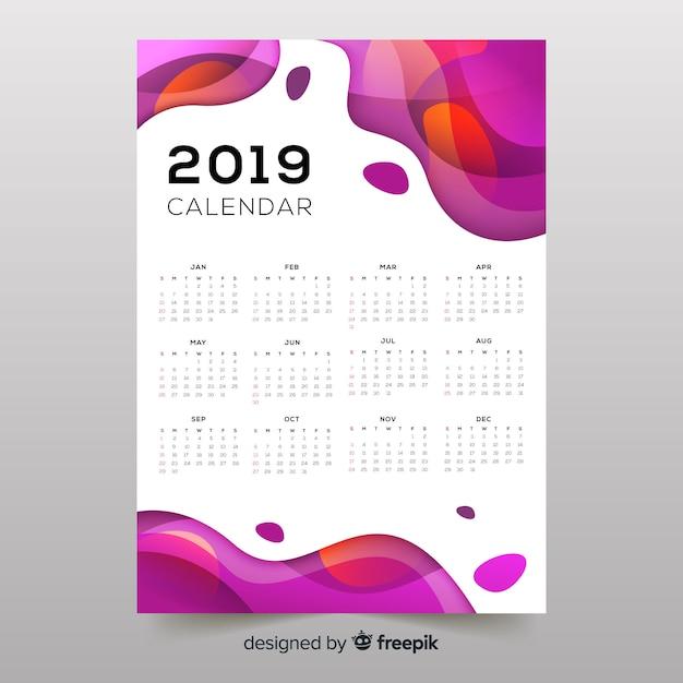 カラフルな抽象的な形2019年カレンダー 無料ベクター