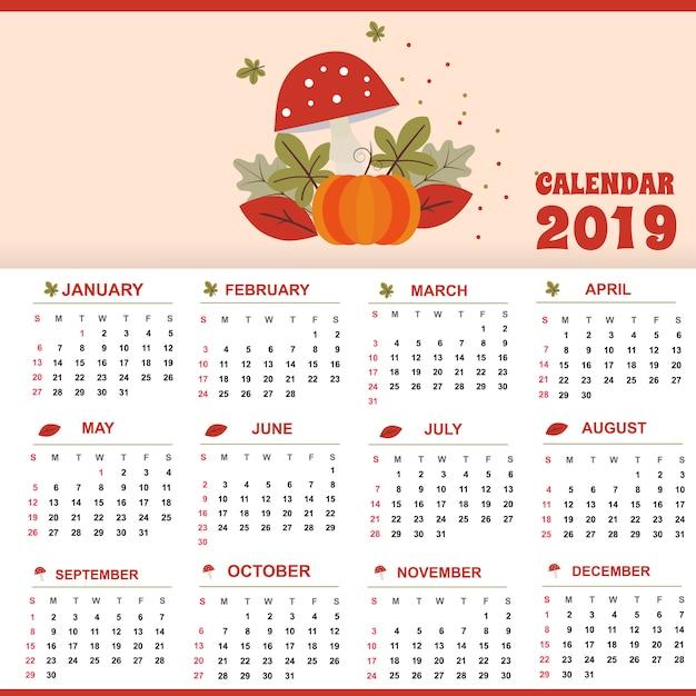 レッドテンプレートカレンダー2019テーマデザインクリエイティブとユニーク Premiumベクター