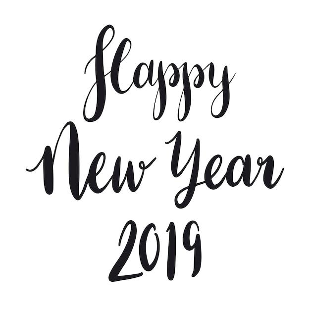幸せな新年2019タイポグラフィースタイルのベクトル 無料ベクター
