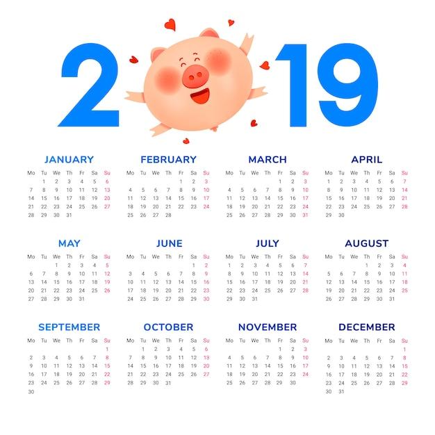 2019年のカレンダー。太った太った豚とハート色の数字 Premiumベクター