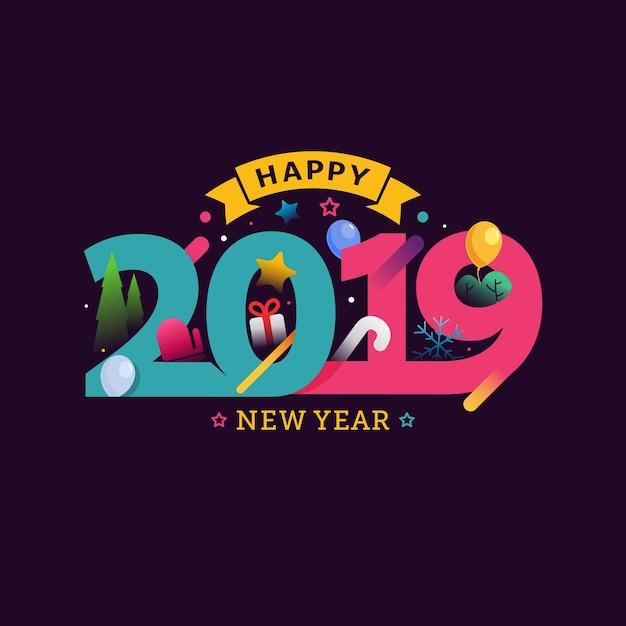 С новым годом 2019 поздравительная открытка Premium векторы