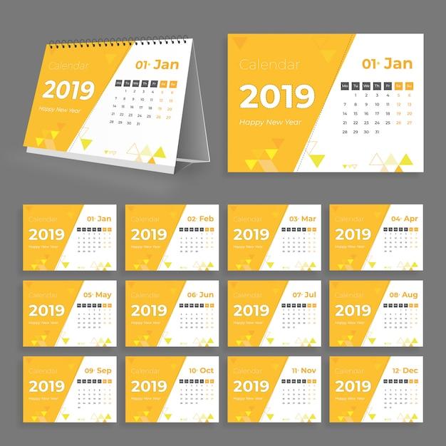 クリエイティブデスクカレンダー2019 Premiumベクター