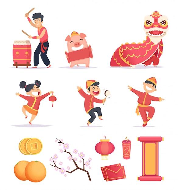 アジアの新年。幸せな中国の人々は伝統的なシンボルドラゴンランタン爆竹の写真で2019を祝います Premiumベクター