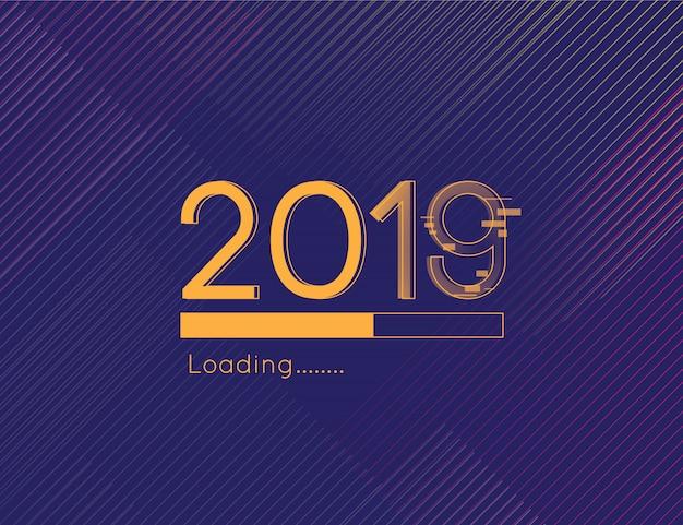 С новым годом загрузка 2019 отвлекает шрифт и золотой тёмный фон Premium векторы