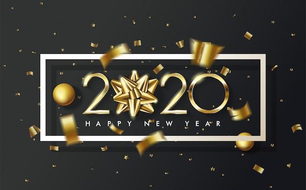 2020年の最初の0は、2020年のゴールドリボン付きハッピーバースデーの背景に置き換えられます Premiumベクター