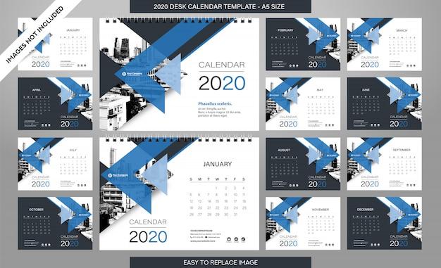 Настольный календарь 2020 - 12 месяцев в комплекте Premium векторы