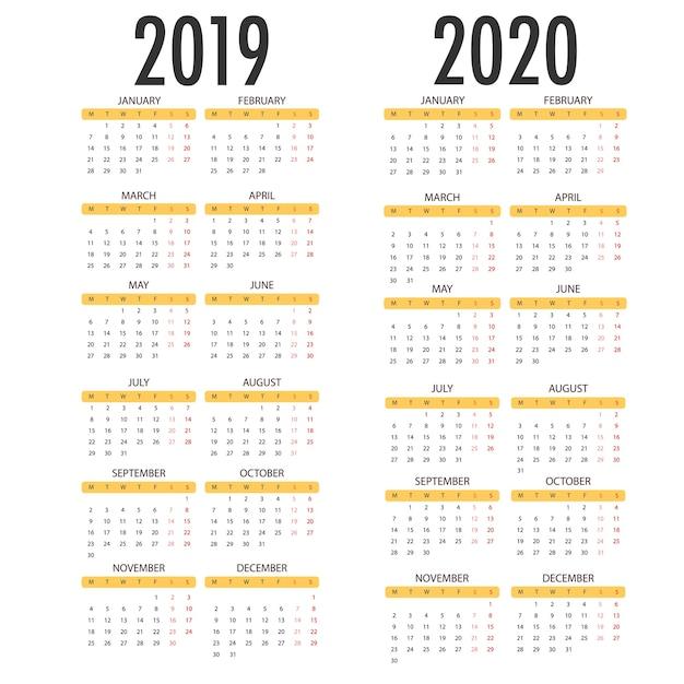 2020年のカレンダー、2019年の白い背景。ベクトルテンプレート Premiumベクター