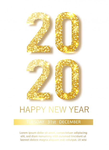 黄金の金属数2020の幸せな新しい2020年year.vectorイラスト Premiumベクター