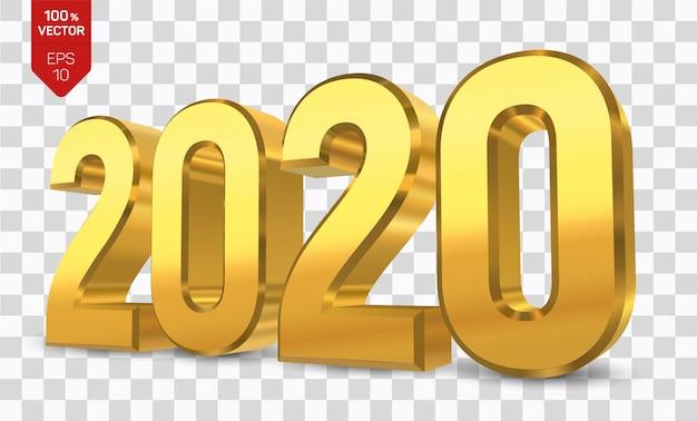 2020年のゴールデンナンバー。明けましておめでとう2020。 Premiumベクター