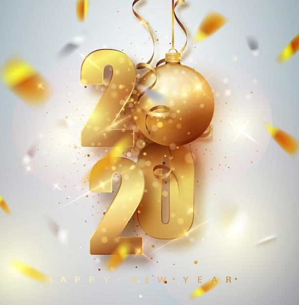 黄金の金属番号2020と幸せな新しい2020年グリーティングカード。 Premiumベクター