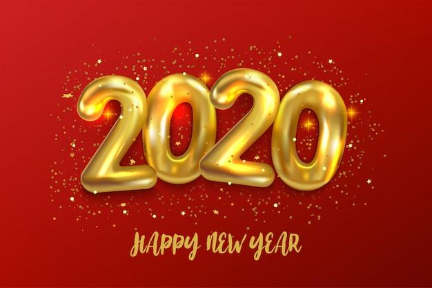 ハッピーニュー2020年。金属の黄金の風船番号2020の休日ベクトルイラスト Premiumベクター