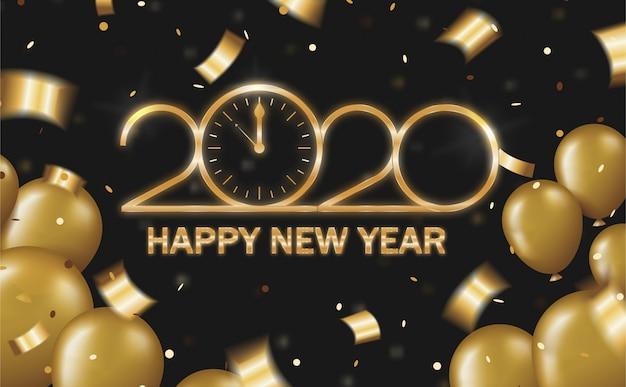 新年あけましておめでとうございますゴールデンシャイニー2020時計の内側の数字のゼロ。風船、紙吹雪、黒い背景に蛇紋岩のコンセプト2020年 Premiumベクター