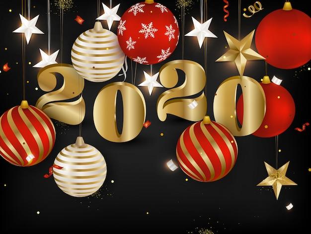 ゴールデンテキスト2020明けましておめでとうございます。クリスマスボール、蛇紋岩、金の3 d星、暗い背景に紙吹雪と休日バナー。 Premiumベクター