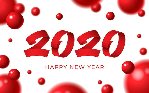 2020新年あけましておめでとうございます背景、赤い数字テキスト、3 dの抽象的なボールクリスマス冬カード Premiumベクター
