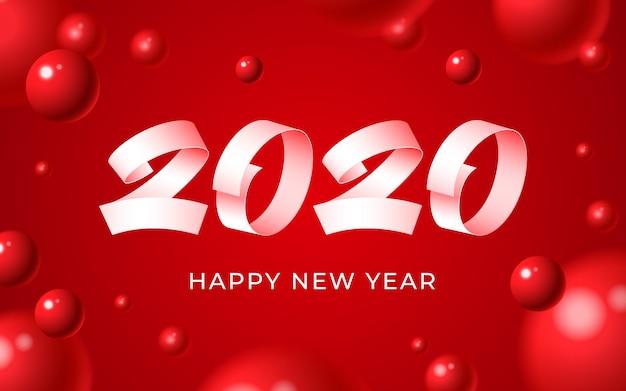 2020新年あけましておめでとうございます背景、白い数字テキスト、3 dの抽象的な赤いボールクリスマス冬カード Premiumベクター