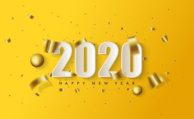 2020 с новым годом с иллюстрациями белых 3d фигур и рваных кусочков золотой бумаги, расстеленных на желтом Premium векторы