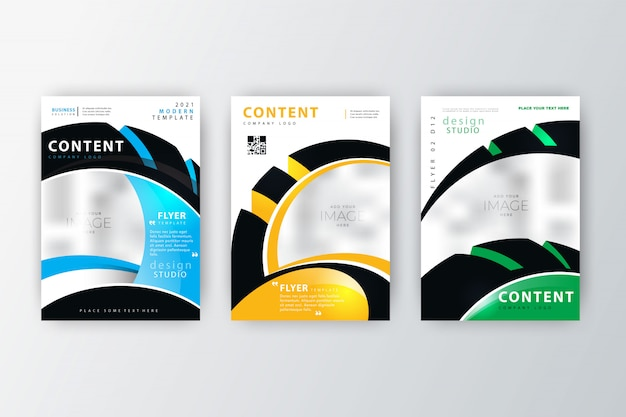 2020 annual report flyer collection Free Vector