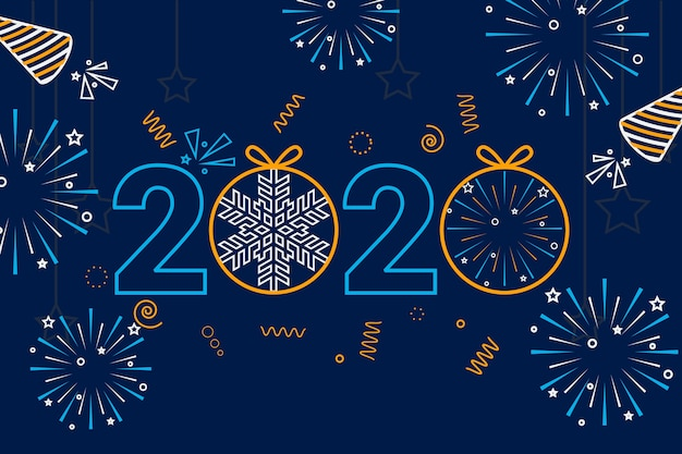 2020 background outline style with fireworks Free Vector
