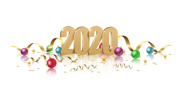 Christmas Letter 2020 2020 banner with golden 3d letters, sparkles, ribbons and