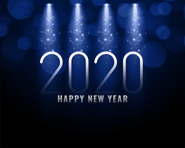2020 blue new year background with light rays Free Vector