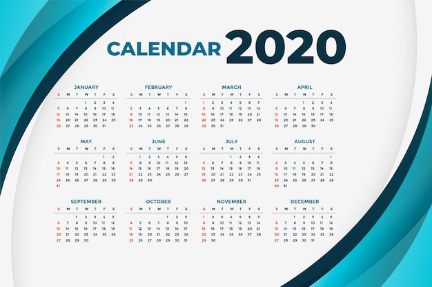 2020 business calendar with blue curve shapes Free Vector