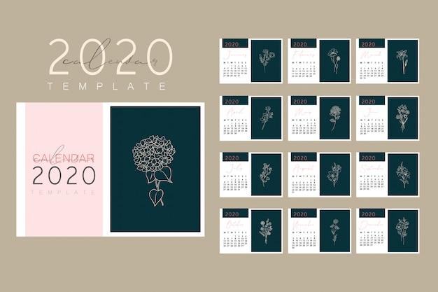 2020 calendar design ready to print Premium Vector