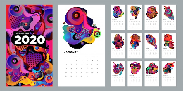 2020 calendar design template with colorful abstract liquid and geometric background Premium Vector