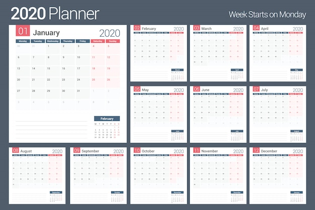 Premium Vector 2020 Calendar Planner